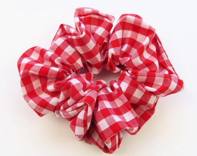 Red and White Checkered Gingham Cotton Fabric Scrunchie