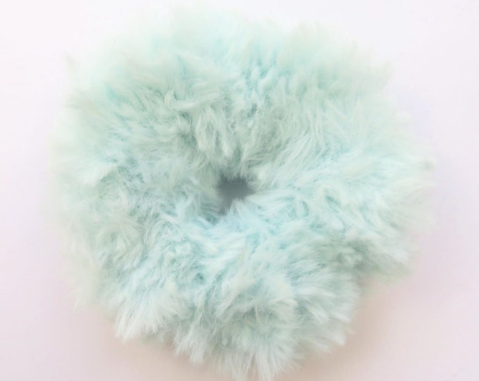Fluffy Crochet Scrunchie - Light Blue