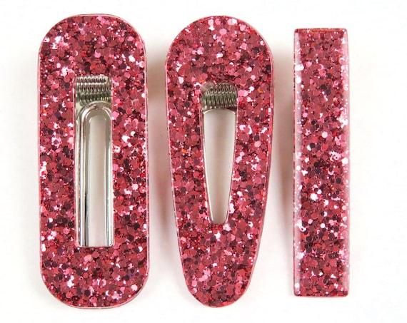 Red Rose Gold Glitter Resin Hair Clip Barrette
