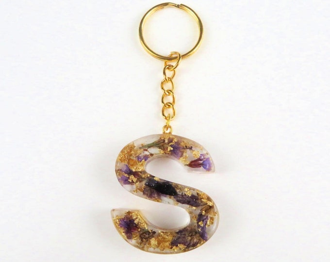 Resin Letter Keychains with Gold Foil and Purple Dried Flowers