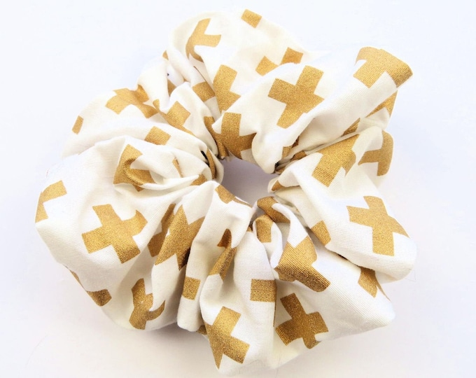 White and Gold Cross Scrunchie