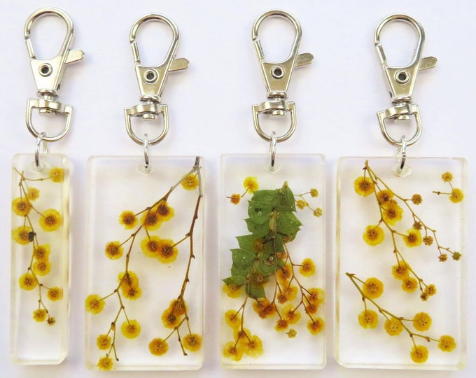 Pressed Flower Yellow Wattle Resin Key Chains