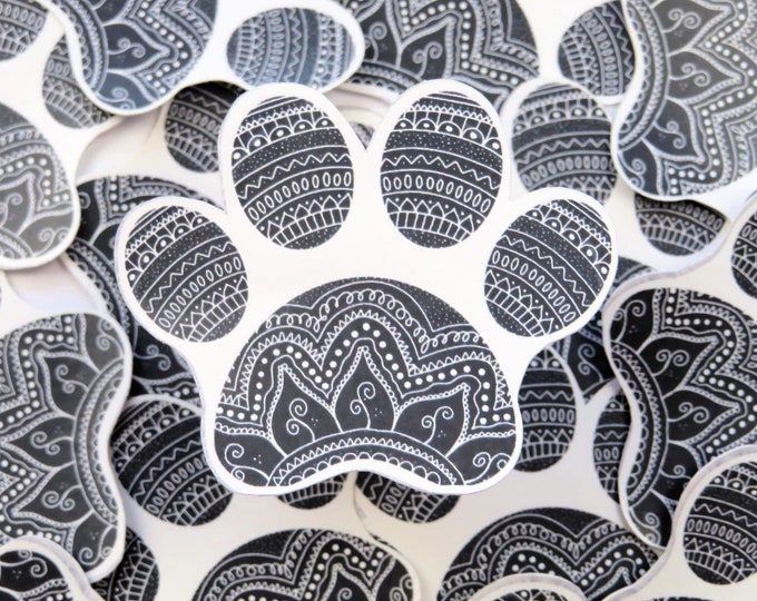 Mandala Paw Print | Hand Drawn Die Cut Sticker