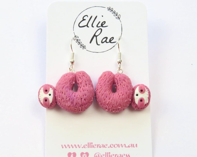 Polymer Clay Sloth Earrings - Berry