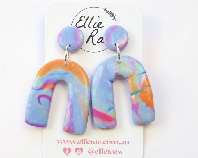 Abstract Marbled Polymer Clay Horseshoe Stud Earrings