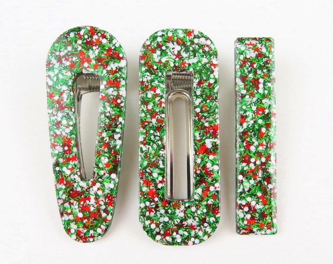 Christmas Glitter Resin Hair Clip Barette