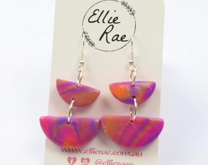 Sunset Semi Circle Polymer Clay Earrings