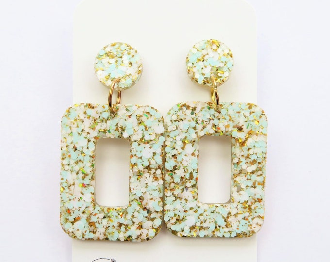 Chunky White Blue and Gold Glitter Resin Stud Dangle Bold Statement Earrings