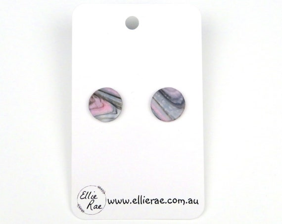 White, Black and Pink Marble Round Polymer Clay Stud Earrings