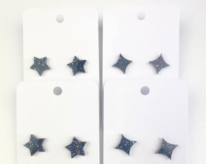 Black Star Glitter Resin Stud Earrings