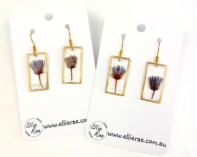 Rectangle Resin Pressed Flower Gold Charm Dangle Earrings