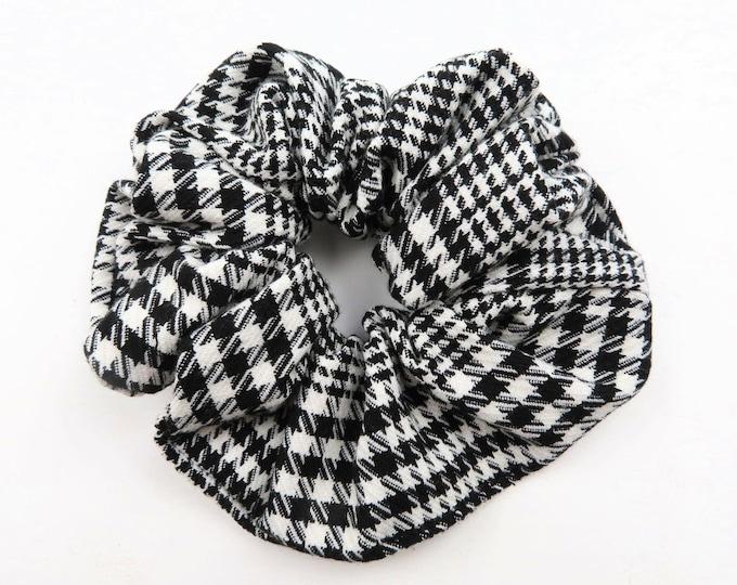 Black and White Plaid Scrunchie