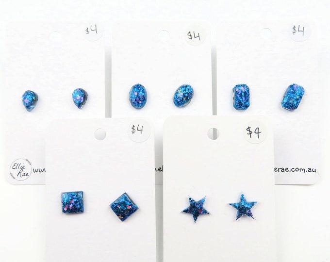 Midnight Blue Gold Chunky Glitter Resin Stud Earrings