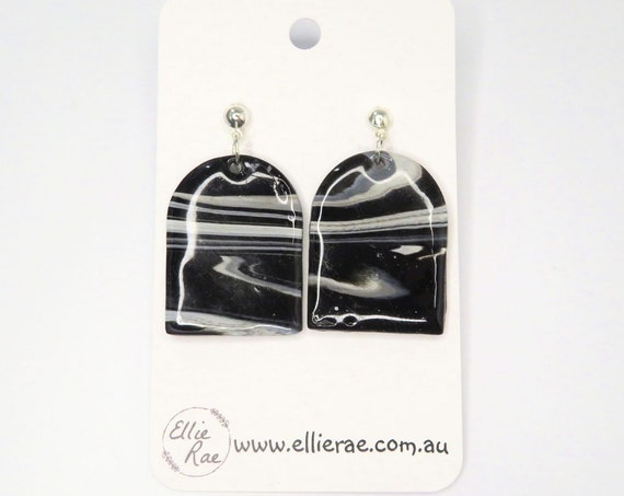 Glossy Black and White Pastel Marbled Polymer Clay Dangle Stud Earrings