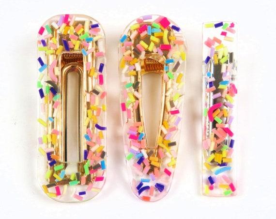 Clear Sprinkles Glitter Resin Hair Clip Barrette