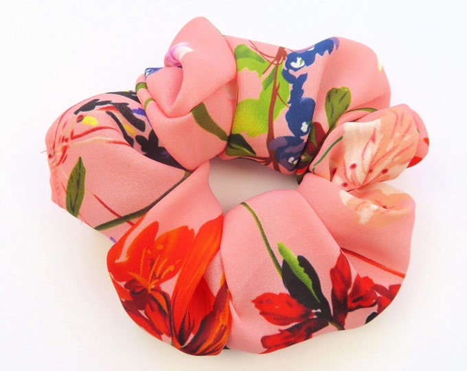 Tropical Crepe Floral Pink Elastic Scrunchie