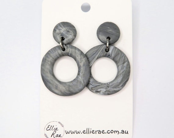 White, Black and Grey Marble Round Ring Polymer Clay Dangle Stud Earrings