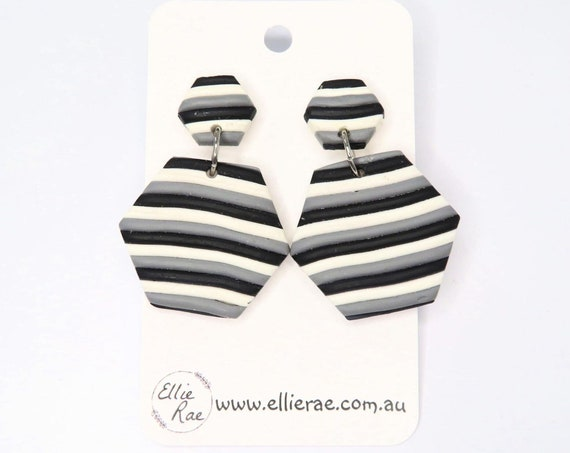 Monotone, Black, White and Grey Stripe Hexagon Polymer Clay Dangle Stud Earrings