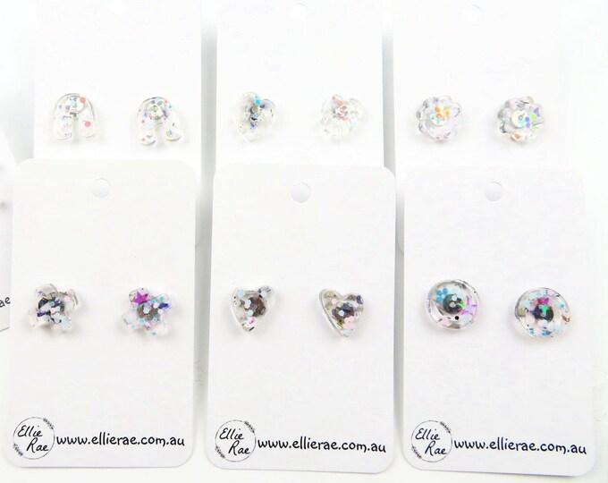 Pressed Flower and Glitter Resin Stud Earrings