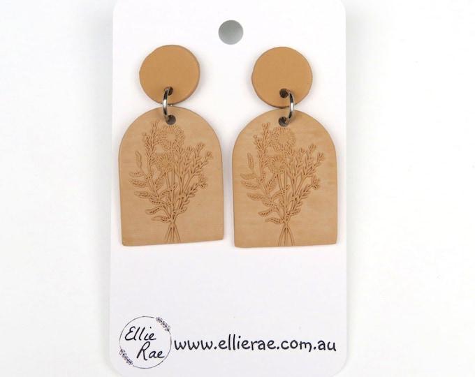 Brown Floral Arrangement Debossed Polymer Clay Dangle Stud Earrings