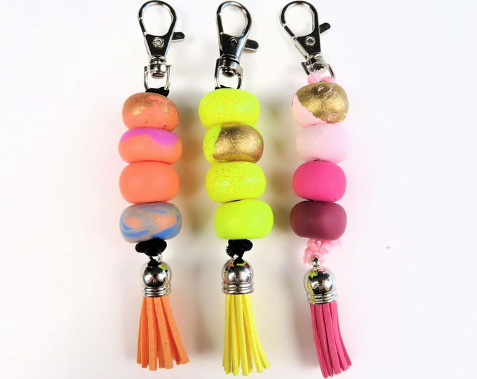 Polymer Clay Beaded Keychains | Cute Bead Tassel Pinks Yellow Orange Marble Key Rings