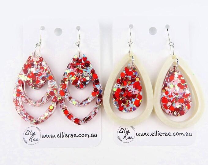 White Christmas Chunky Glitter Dangle Earrings