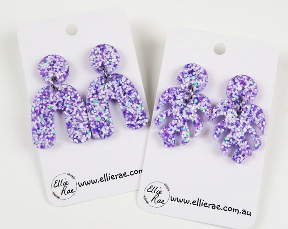 Berry Snowball Purple Chunky Glitter Resin Stud Dangle Bold Statement Earrings