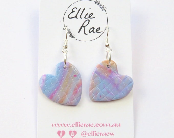 Multi Coloured Marbled Heart Polymer Clay Earrings