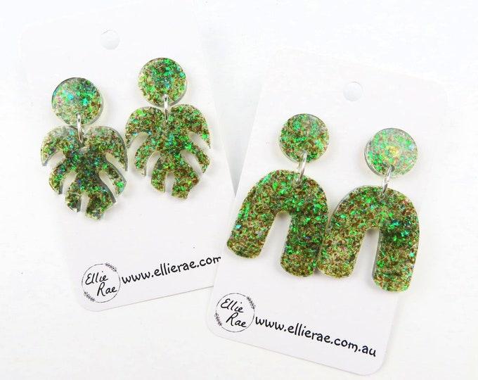Peacock Green Chunky Glitter Resin Stud Dangle Bold Statement Earrings