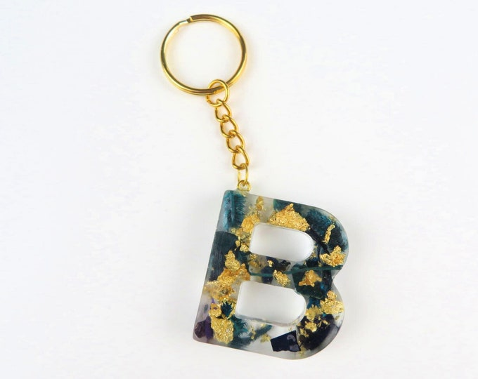 Resin Letter Keychains with Gold Foil and Blue Dried Flowers