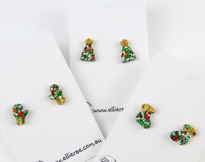 Christmas Glitter and Gold Foil Resin Stud Earrings