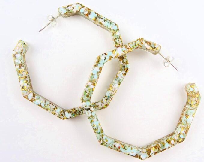 Blue, White and Gold Glitter Hoop Resin Earrings