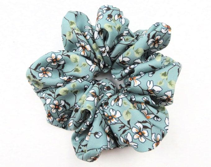 Green Floral Scrunchie