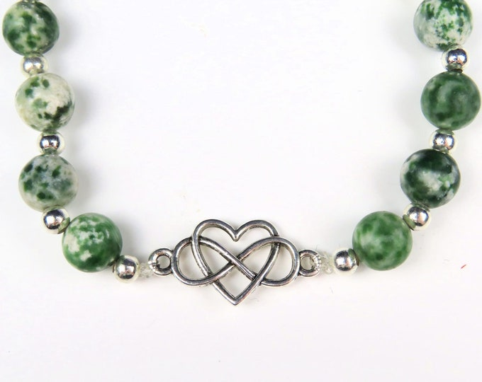 Moss Agate Crystal Gemstone Beaded Bracelet with Heart and Infinity Charm