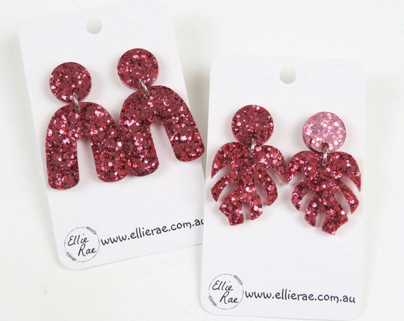 Red Rose Gold Chunky Glitter Resin Stud Dangle Bold Statement Earrings