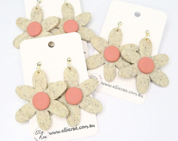 Granite Grey and Blush Pink Flower Polymer Clay Dangle Stud Earrings