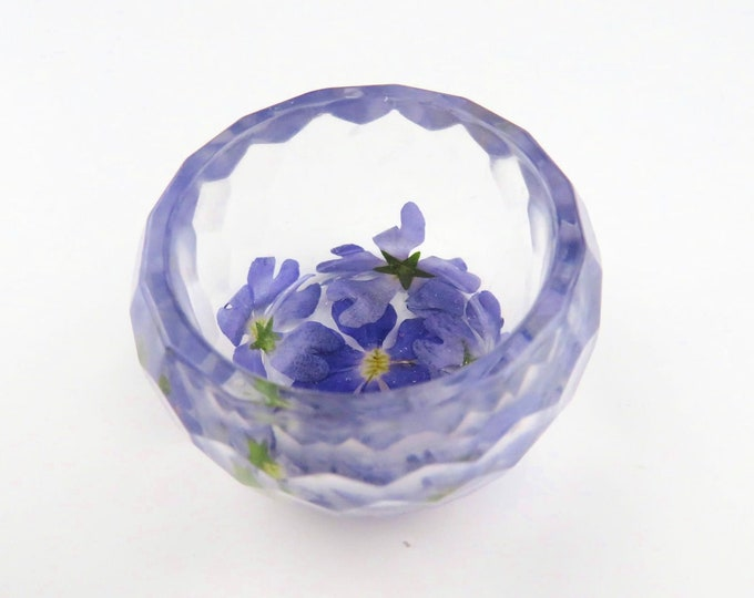 Small Pressed Flower Resin Pot Jewellery dish Ring Bowl