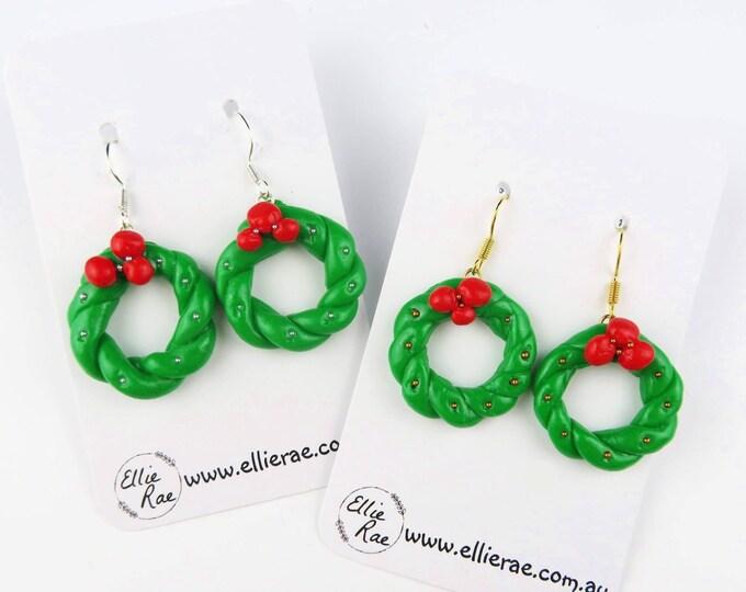 Christmas Wreath Polymer Clay Dangle Christmas Festive Earrings