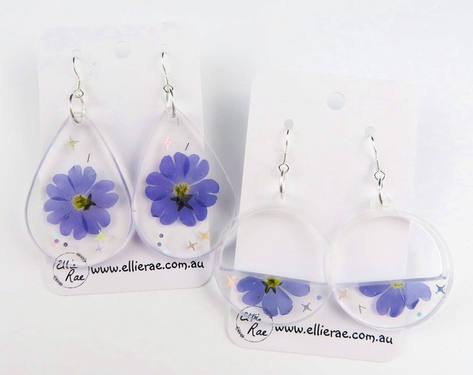 Pressed Flower Resin Dangle Earrings