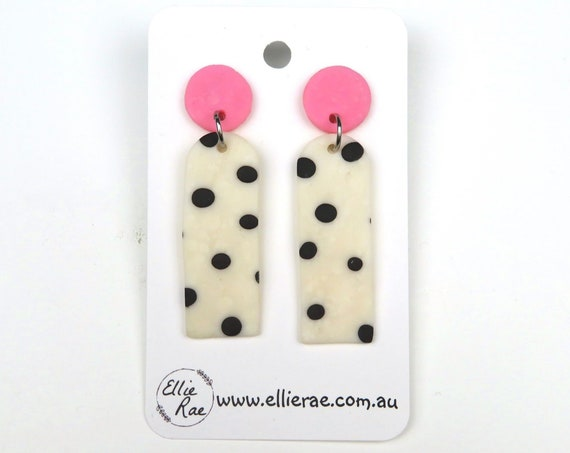 Pink and Polka Dot Polymer Clay Dangle Stud Earrings