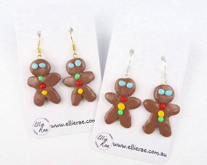 Ginger Bread People Polymer Clay Dangle Christmas Festive Earrings