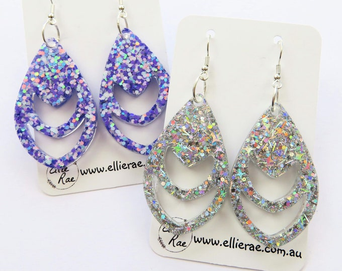 Tear Drop Chunky Glitter Resin Statement Bold Earrings