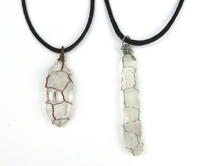 Clear Quartz Wire Wrapped Crystal Gemstone Pendant Necklace