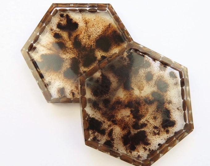 Real Coffee Bean Resin Hexagon Coasters