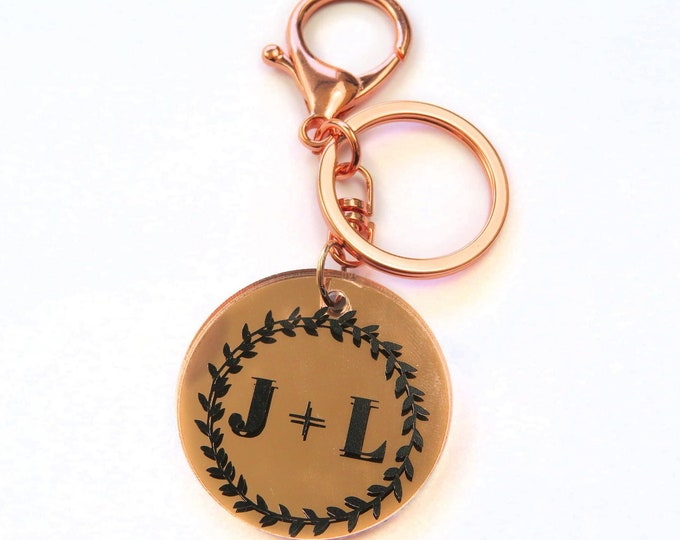 Custom Couples Letter Mirror Key Chain