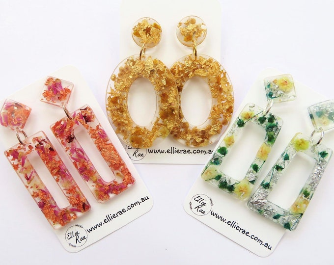 Dried Flower and Foil Flake Resin Chunky Bold Statement Glitter Dangle Stud Earrings