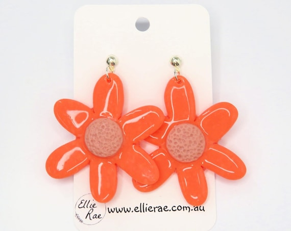 Glossy Bright Orange and Blush Pink Flower Polymer Clay Dangle Stud Earrings