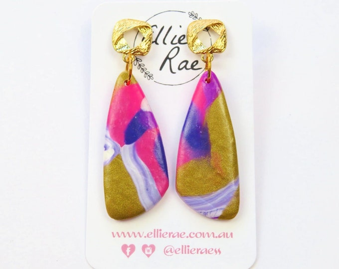 Abstract Pink and Gold Dangle Polymer Clay Earrings