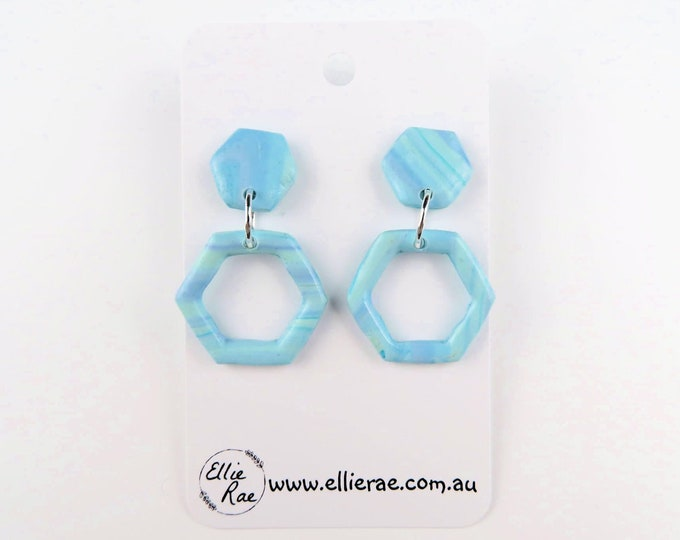 Pastel Blue Hexagon Clay Dangle Stud Earrings