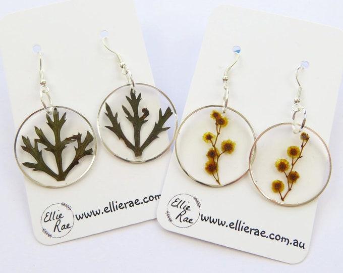 Pressed Flower Resin Disc Minimalist Dangle Silver Earrings